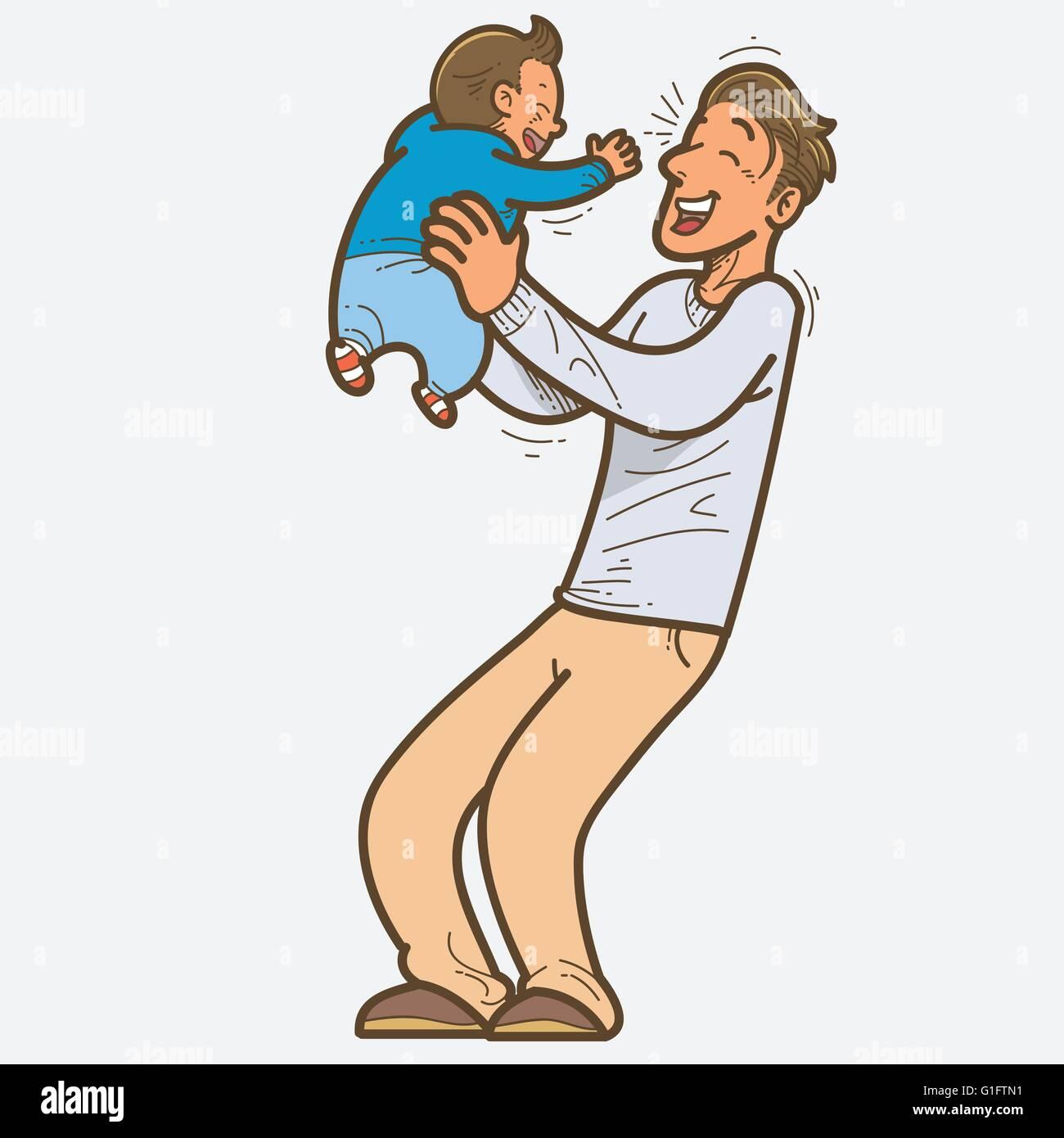 Vector illustration de père et fils Illustration de Vecteur