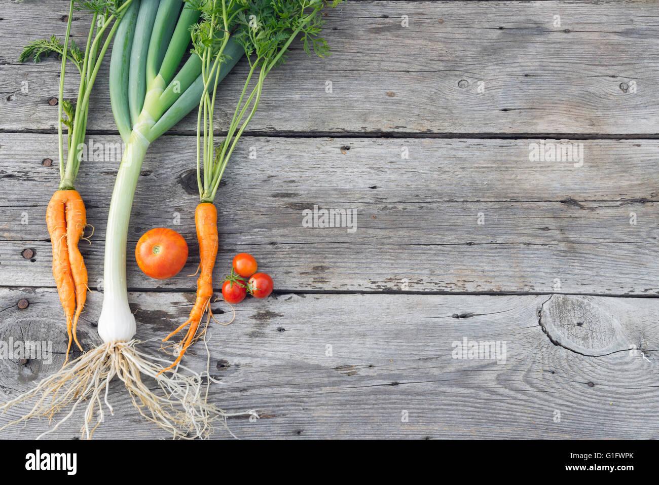 Trendy carotte biologique, tomates et poireaux de la maison lit de ...