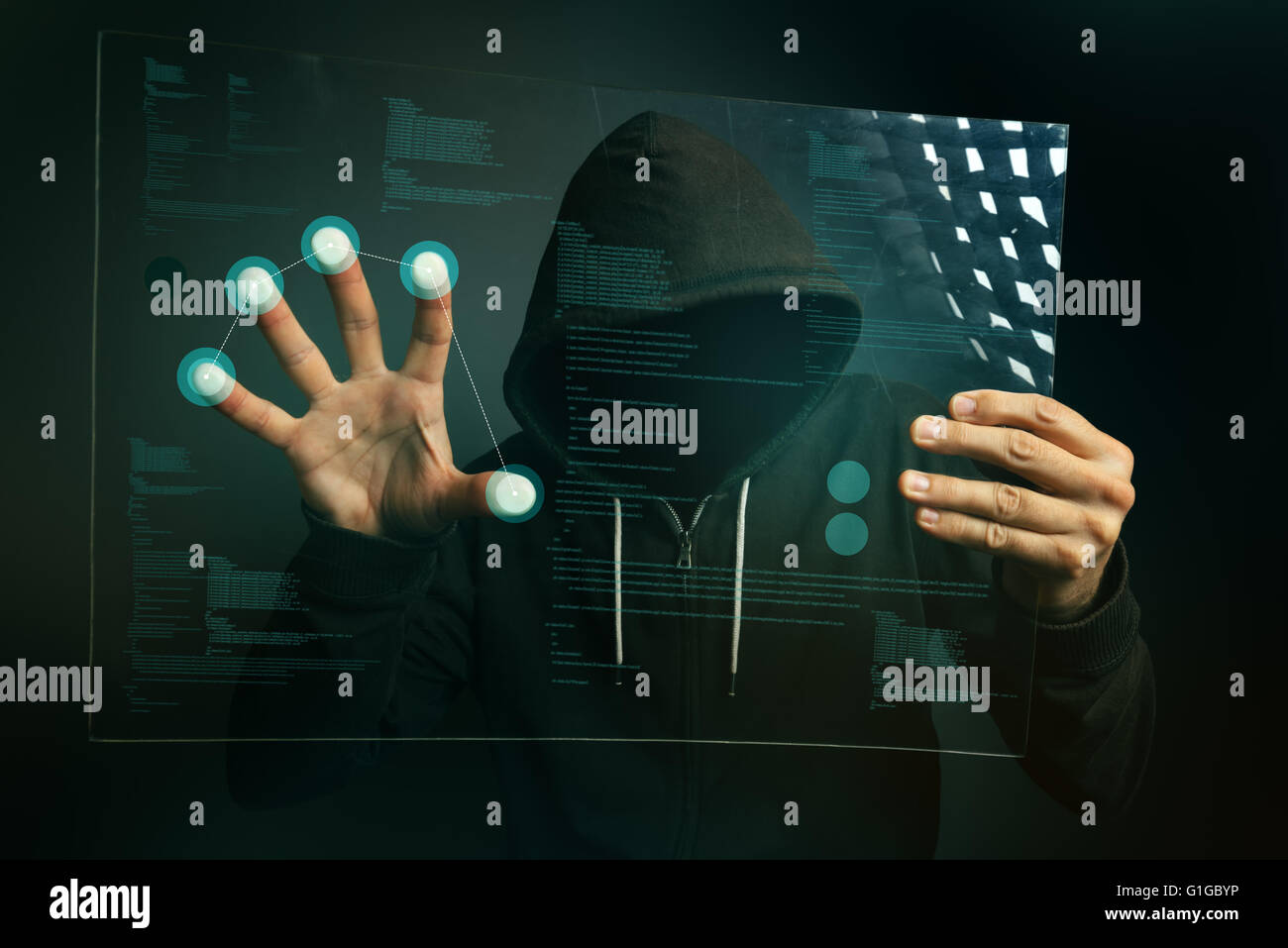 L'identification d'empreintes digitales sur app futuristic tablet computer device, le hacker hacking informatique Photo Stock