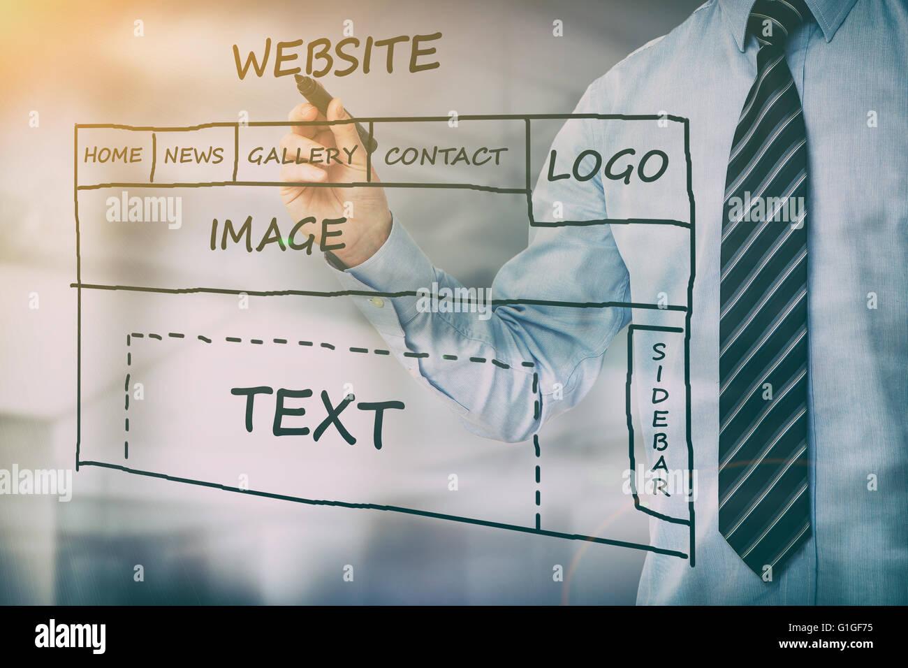 Développement web designer conception de contenu seo - image Photo Stock