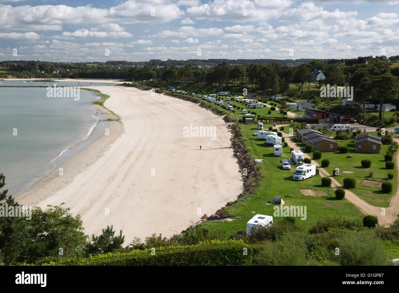 Camping du fond de la Baie camping, Locquirec, Finistère, Bretagne, France, Europe Photo Stock
