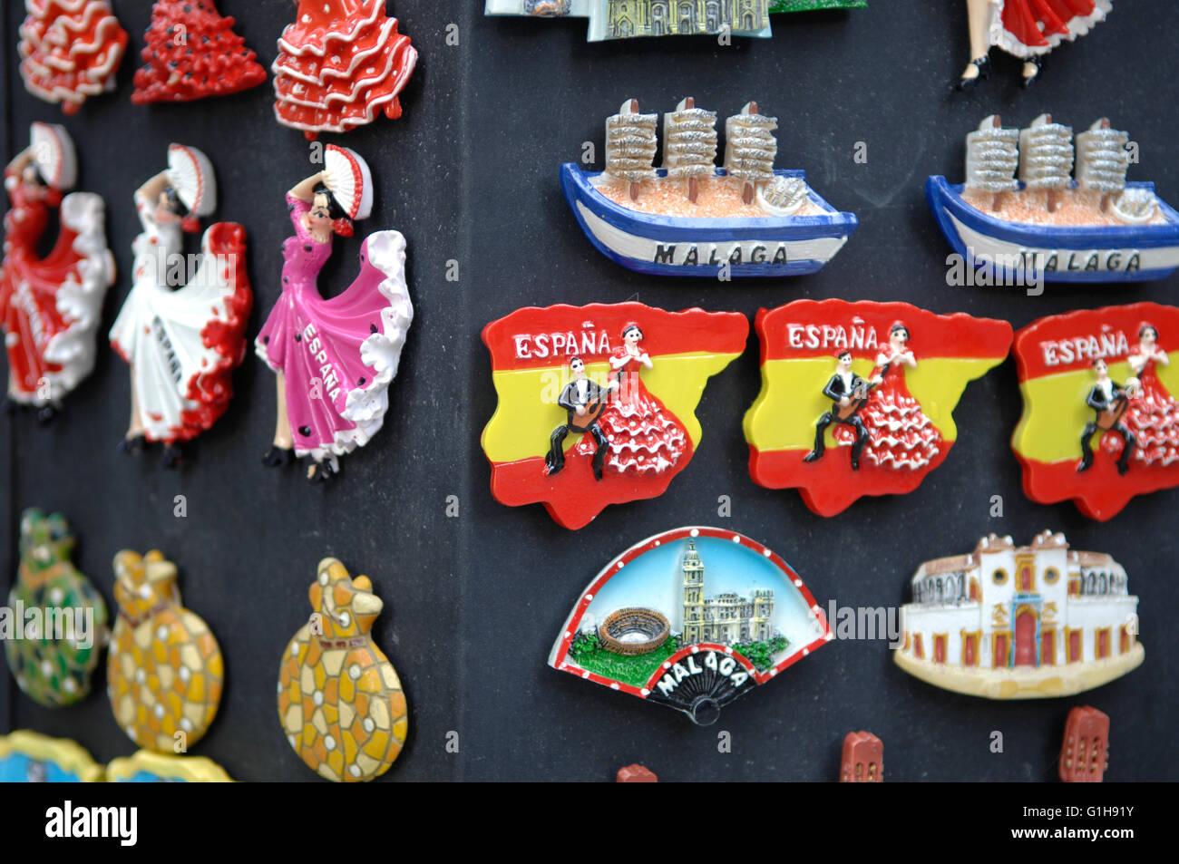 Aimant pour réfrigérateur,souvenirs, Malaga Photo Stock