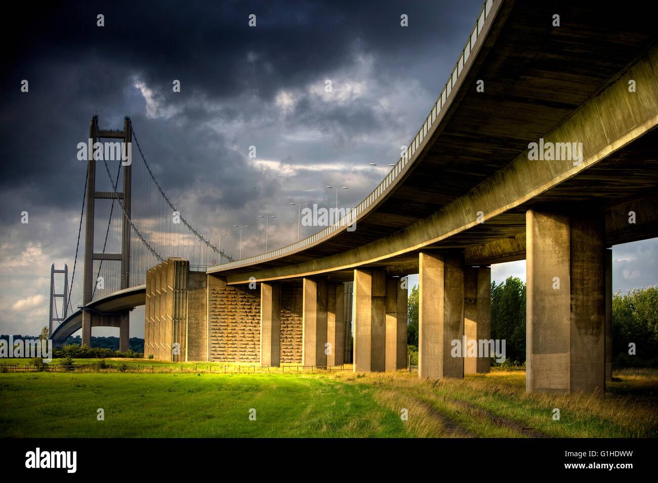 Le Humber Bridge, Humberside, Nord de l'Angleterre. Photo Stock