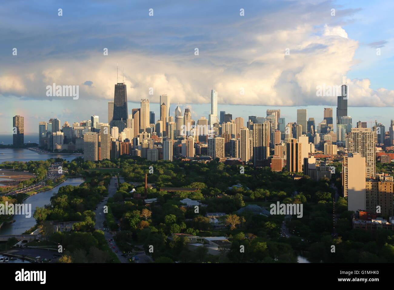 Horizon de Chicago en été Photo Stock
