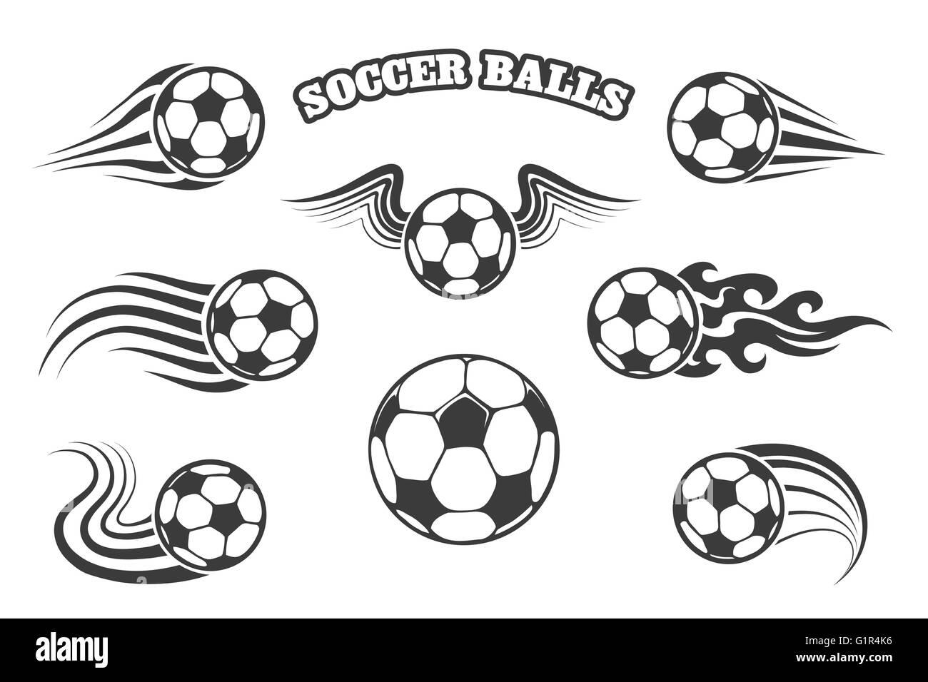 De ballons ou des ballons de foot avec des ailes, d'incendie et divers sentiers de mouvement. Isolé sur blanc. Illustration de Vecteur