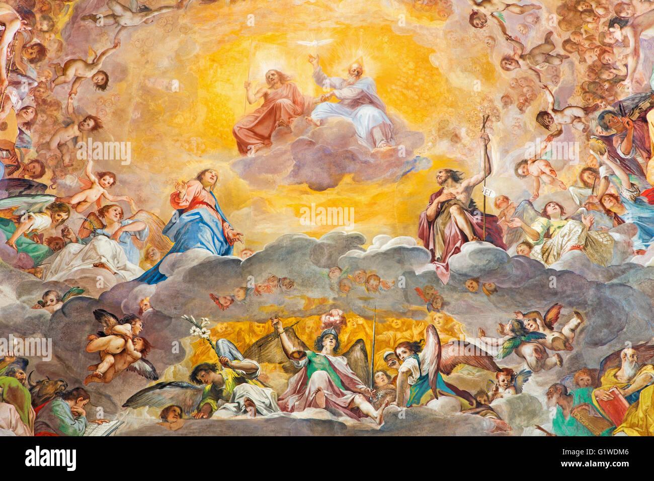 ROME, ITALIE - 12 mars 2016: La partie centrale de la fresque de la gloire du Ciel (1630) dans la Basilique Photo Stock