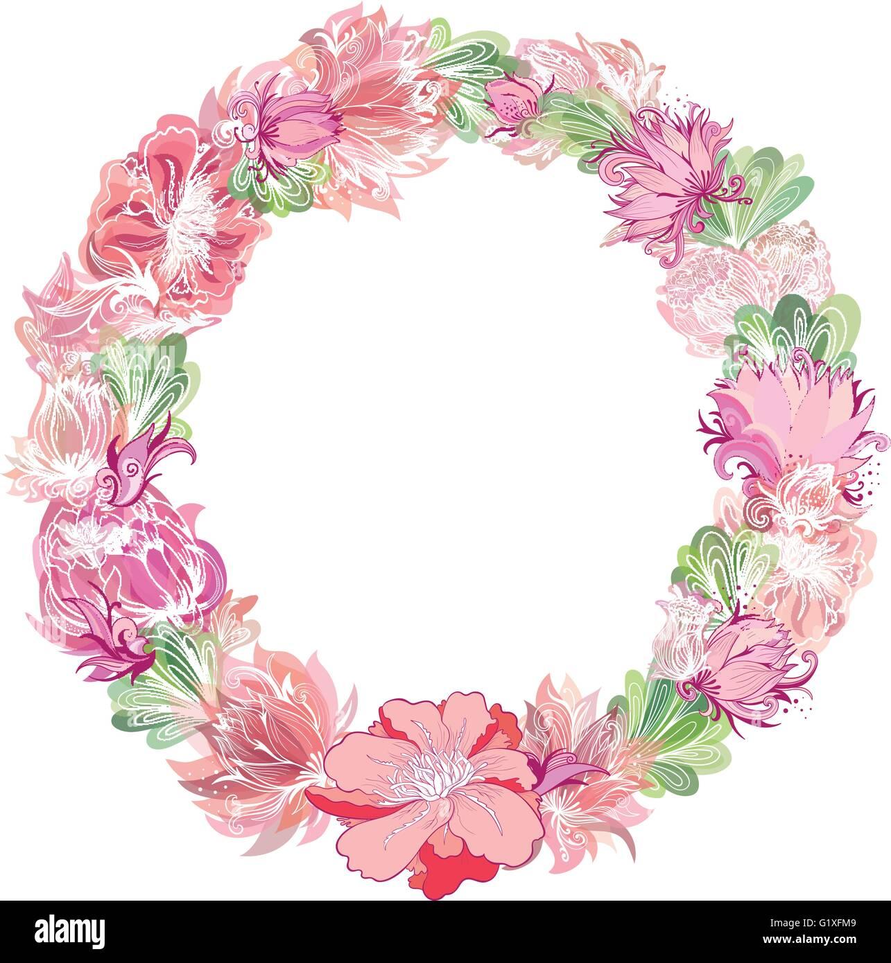 Chssis Circulaire Faite De Croquis Fleurs Avec Effet Aquarelle Transparente Pour Carte Visite Invitation Clbration Design