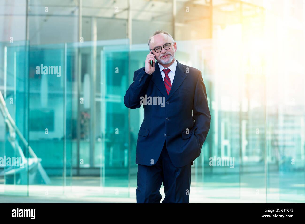 Businessman talking on mobile phone Banque D'Images