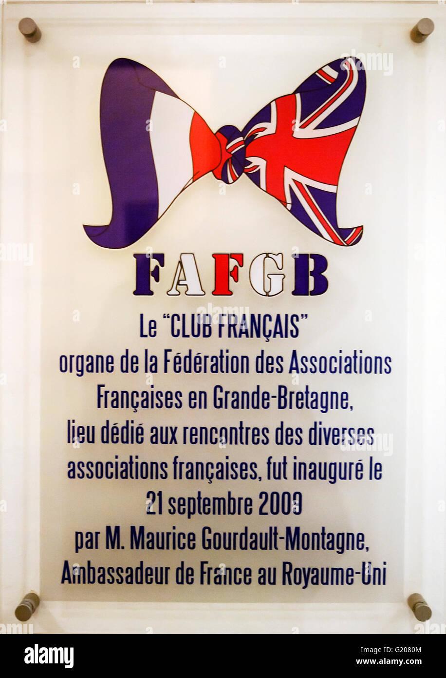 Club Francais plaque murale, Institut Français, South Kensington, Londres Photo Stock