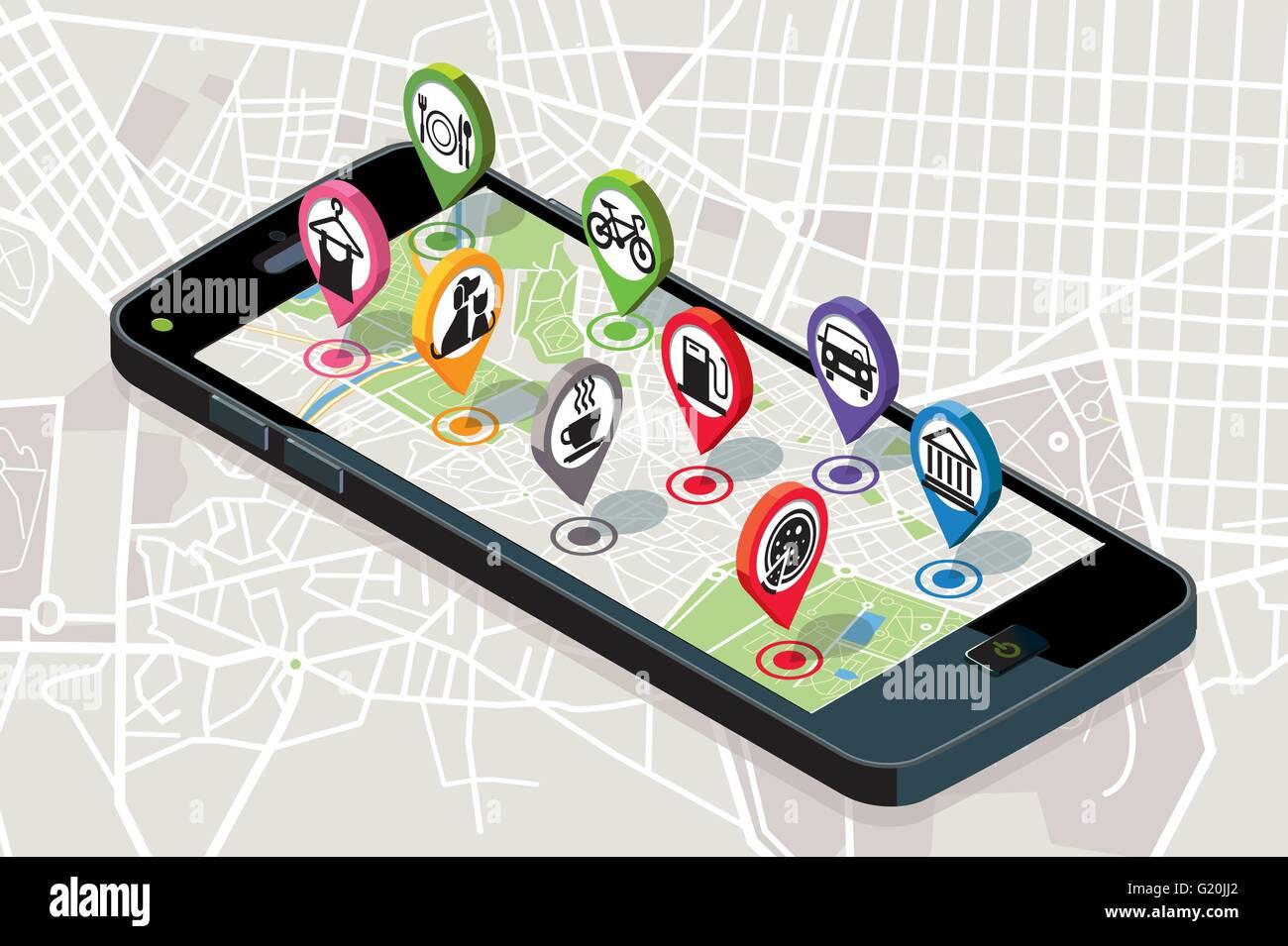 Carte de la ville avec icônes de services GPS. Smartphone. Sur l'écran il une carte vectorielle de Photo Stock