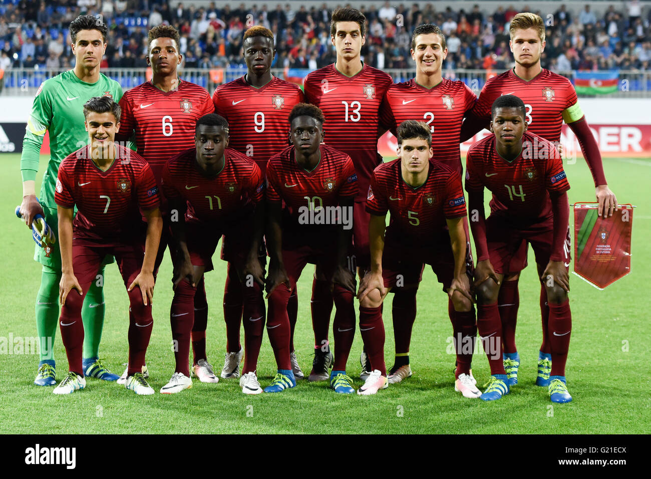 Baku Azerbaidjan 21 Mai 2016 L Equipe De Portugal Posent Pour La