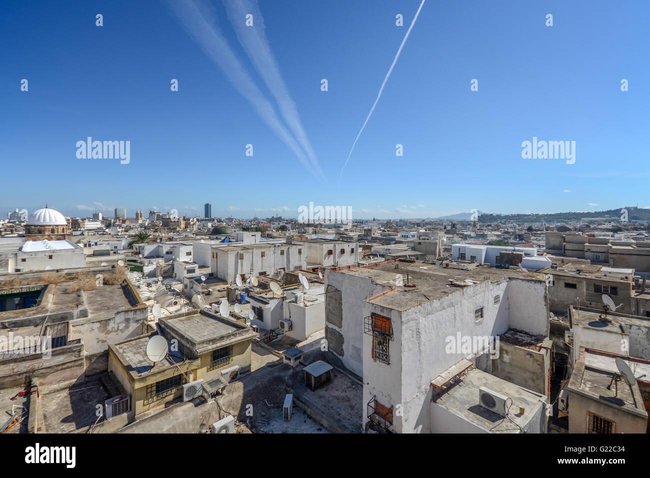 Vue aérienne de la ville historique de Tunis, Tunisie. Photo Stock