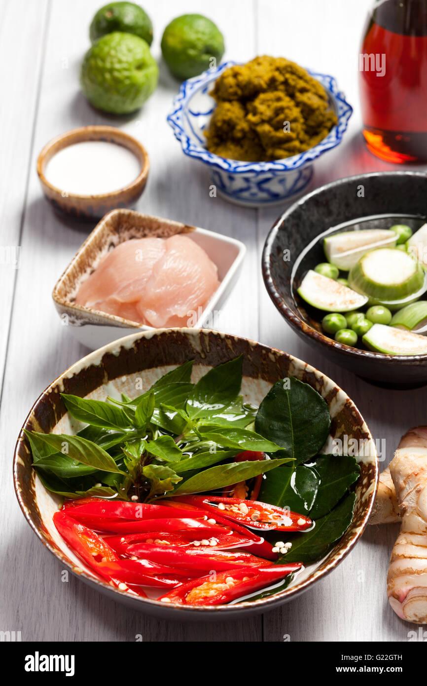 La cuisine thaïlandaise moderne Photo Stock