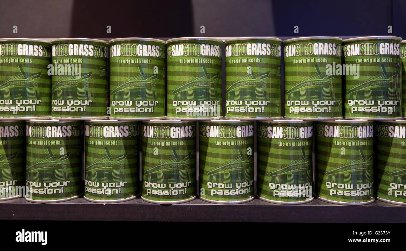 Milan, Italie. 23 mai 2016: Le magasin de Giuseppe Meazza (également connu sous le nom de San Siro). Dans le pic: les graines de l'herbe du terrain Banque D'Images