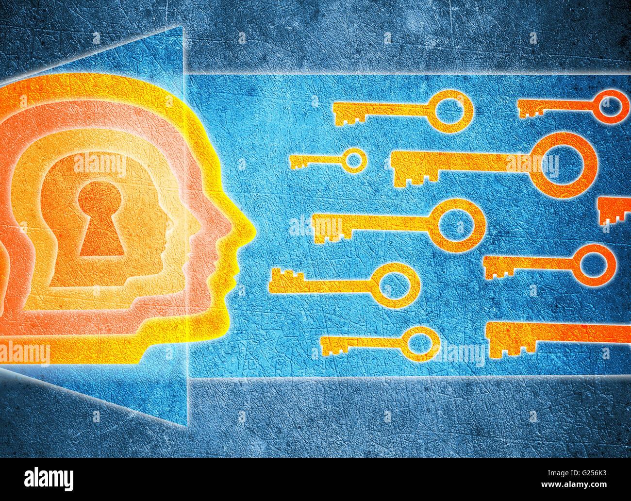 Tête humaine avec serrure et clefs psychologie concept illustration numérique Photo Stock