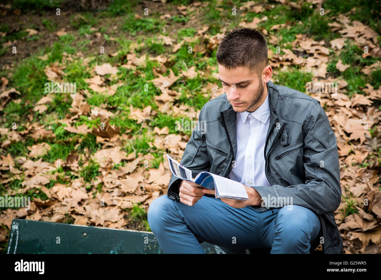 Jeune homme lecture brochure while sitting on bench in park Photo Stock