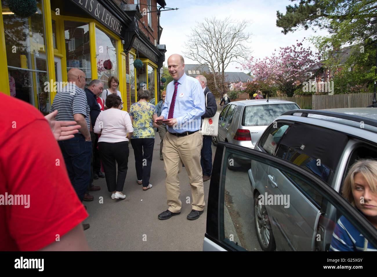 Chris Grayling, homme politique conservateur britannique campagne pour quitter l'Europe devant l'UE référendum, Photo Stock