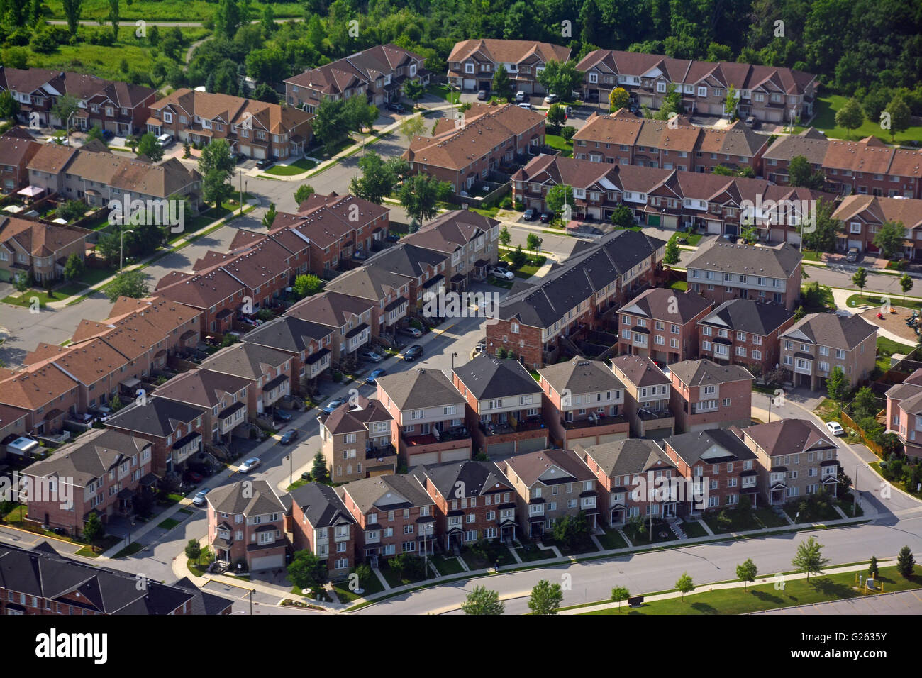 Quartier résidentiel banlieue, vue aérienne, Canada Photo Stock