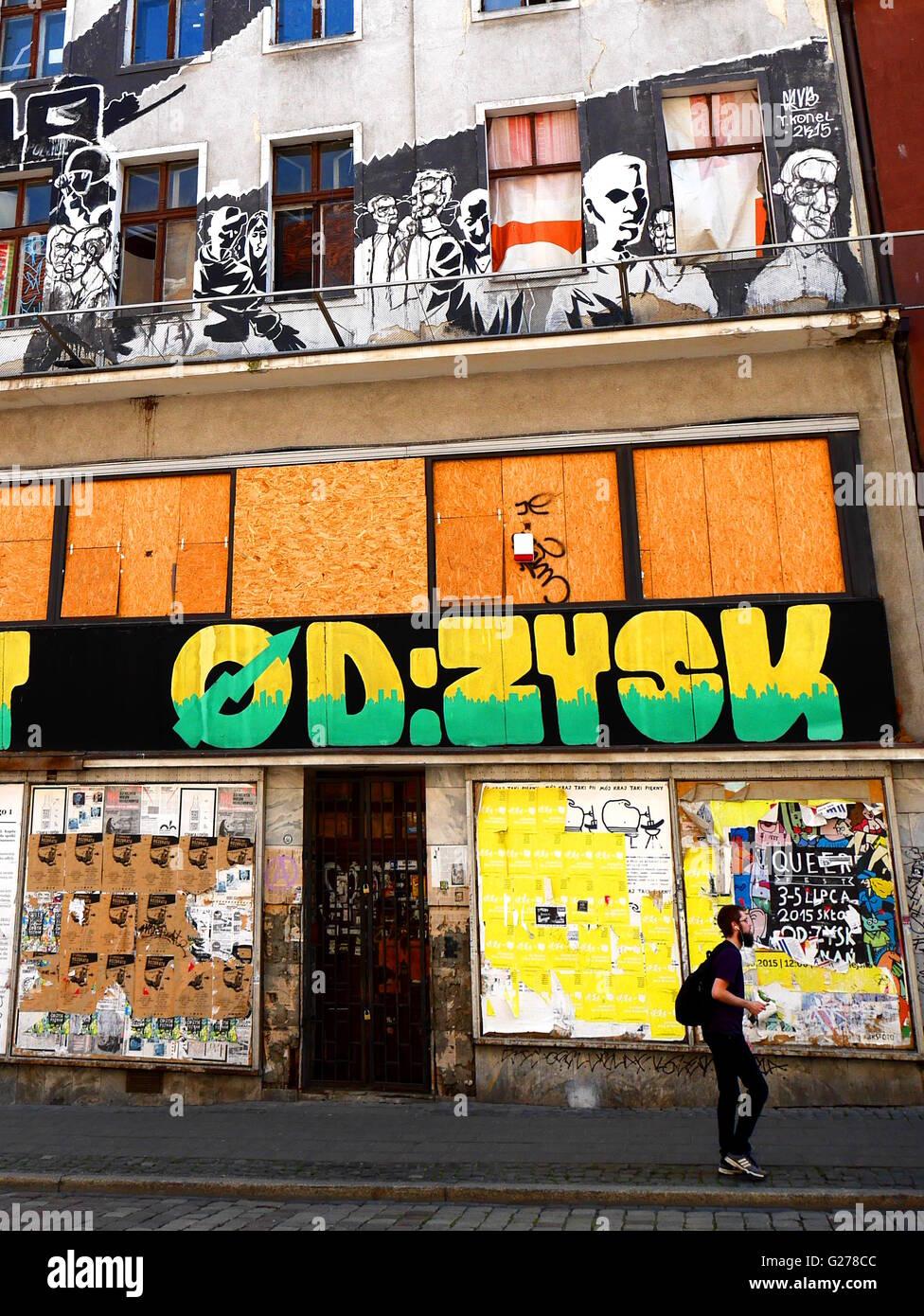 Squat abandonné à Poznan Photo Stock