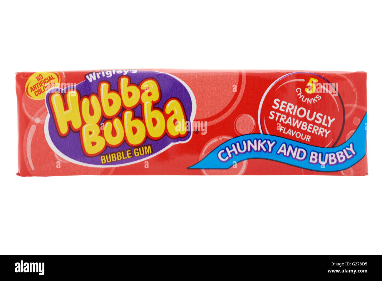 Sachet de bubble-gum Hubba Bubba sur fond blanc Photo Stock