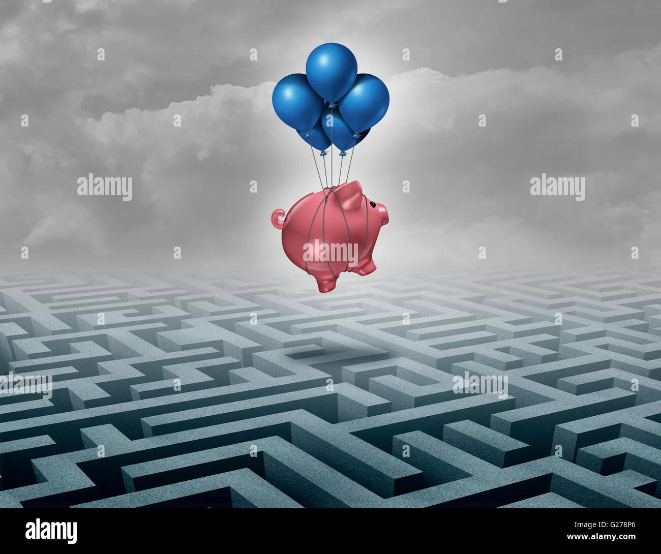 Concept de soutien d'épargne financière comme une solution à l'aide d'un leadership des Photo Stock