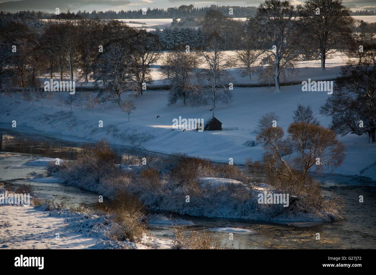 Westford Shiel sur le cours inférieur de la rivière Tweed Photo Stock