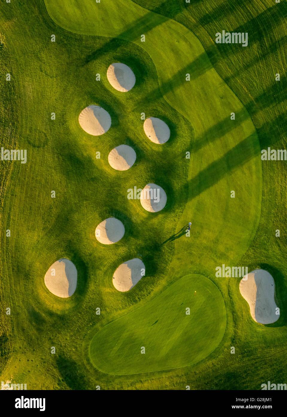 Vue aérienne de sable, trous, fosses de sable, des bunkers, driving range, golf club Fleesensee, GC Fleesensee, Photo Stock