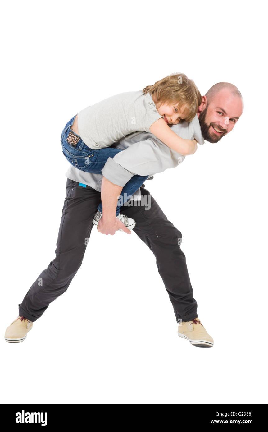 Beau-père jouant avec concept fille sur fond blanc Photo Stock