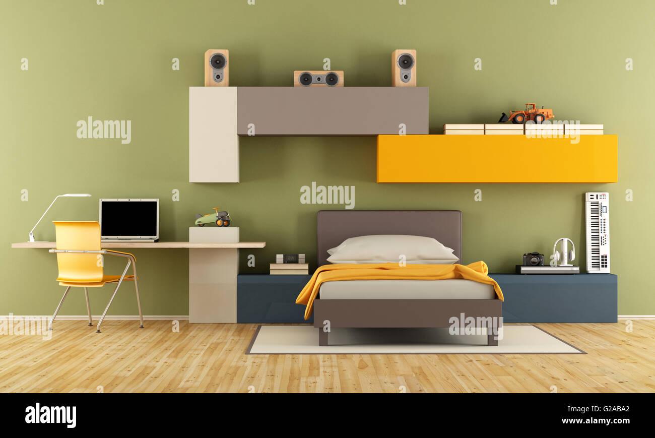 Adolescent chambre avec lit simple bureau ordinateur portable et
