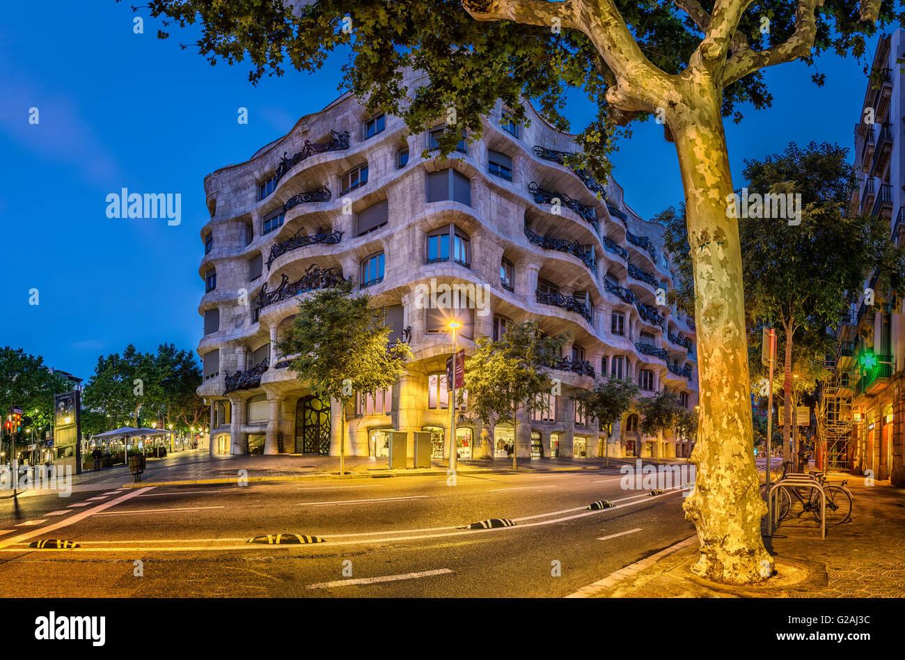 La Pedrera, Casa Mila, Barcelone, Catalogne, Espagne Photo Stock