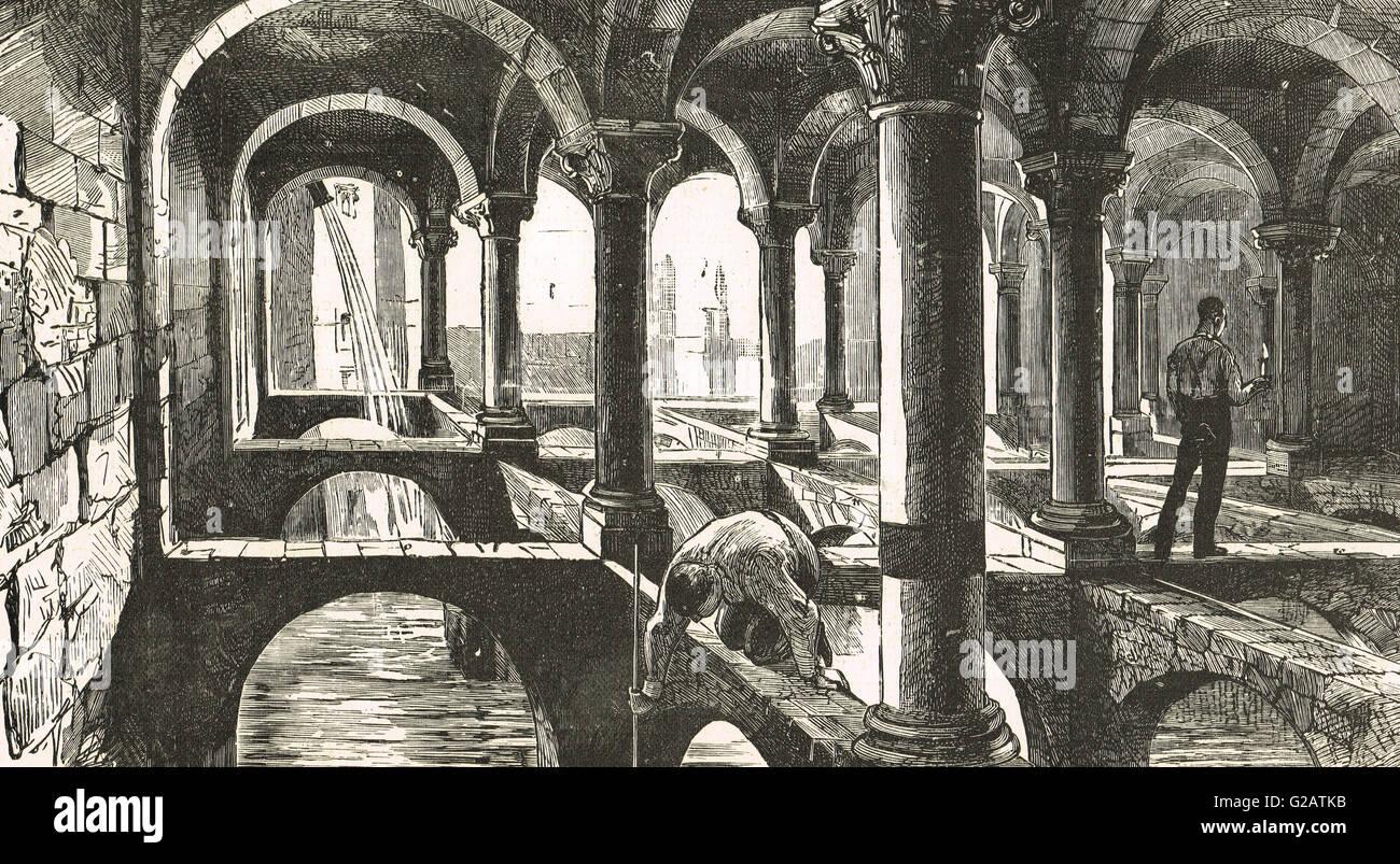 Citernes romaines sous Alexandrie, Egypte Photo Stock