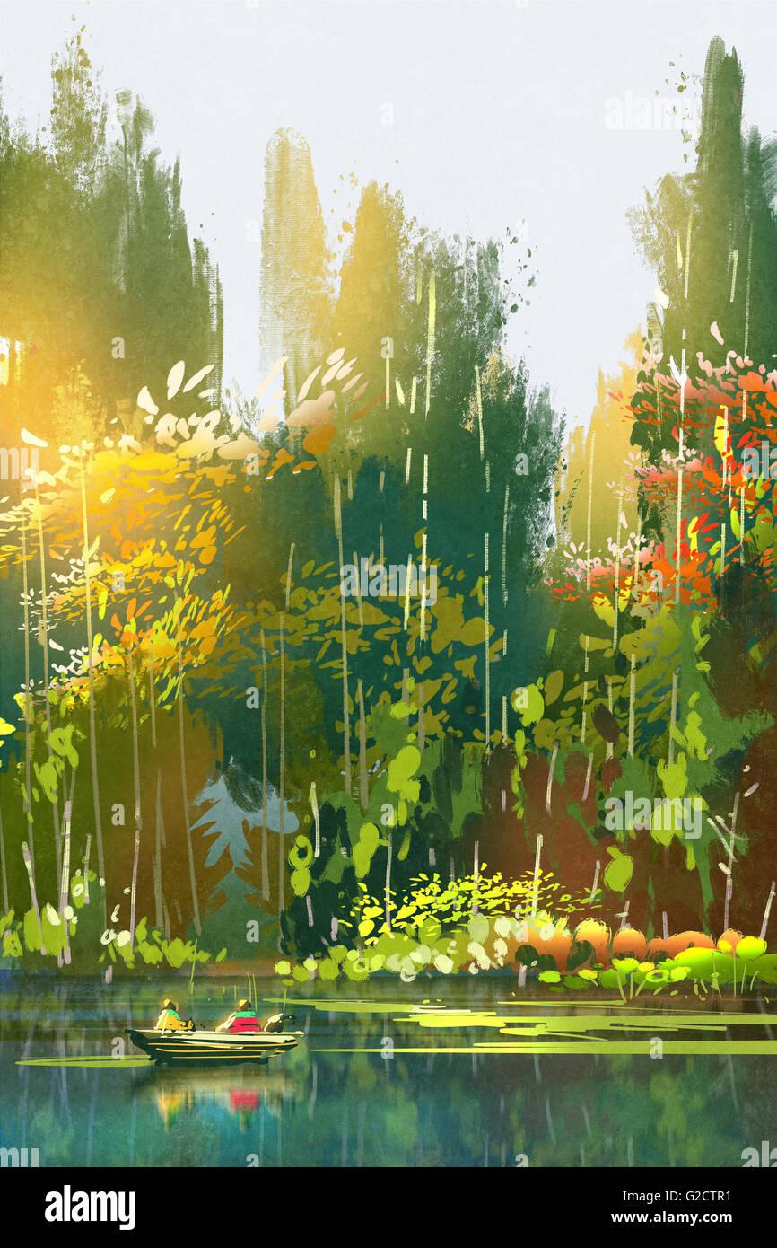 Bateau sur le lac, la peinture de paysage de forêt en été, Photo Stock