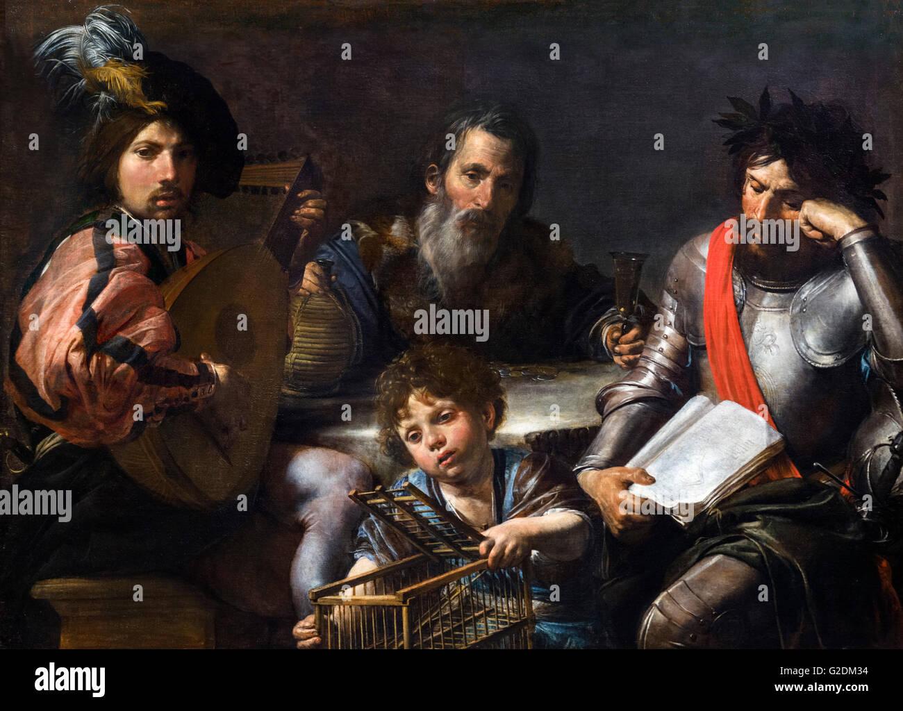 Les quatre âges de l'homme par Valentin de Boulogne, huile sur toile, c.1629. La peinture représente Photo Stock
