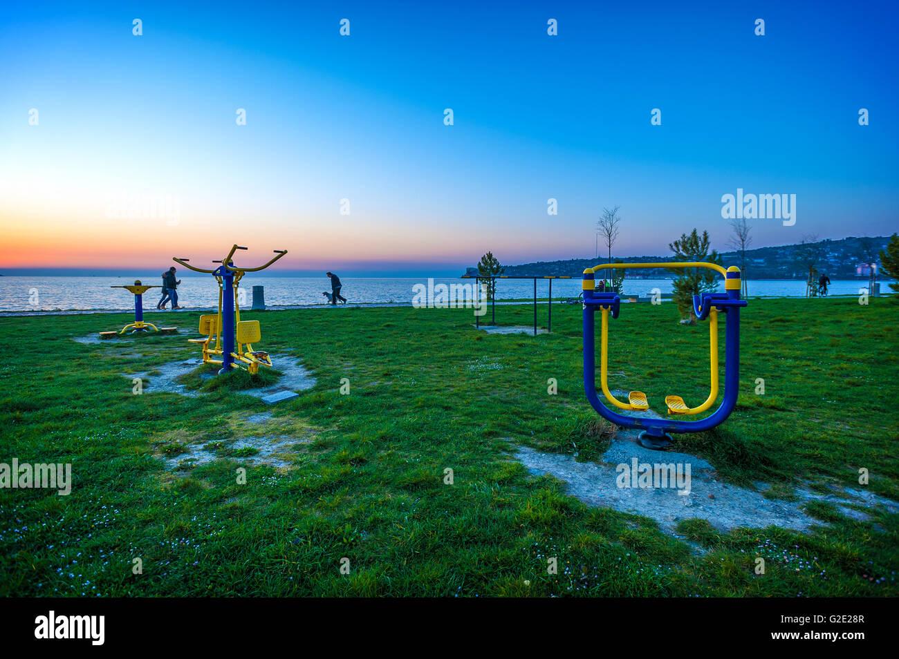 La côte de la Slovénie et Kars Seča plage sports gear Photo Stock