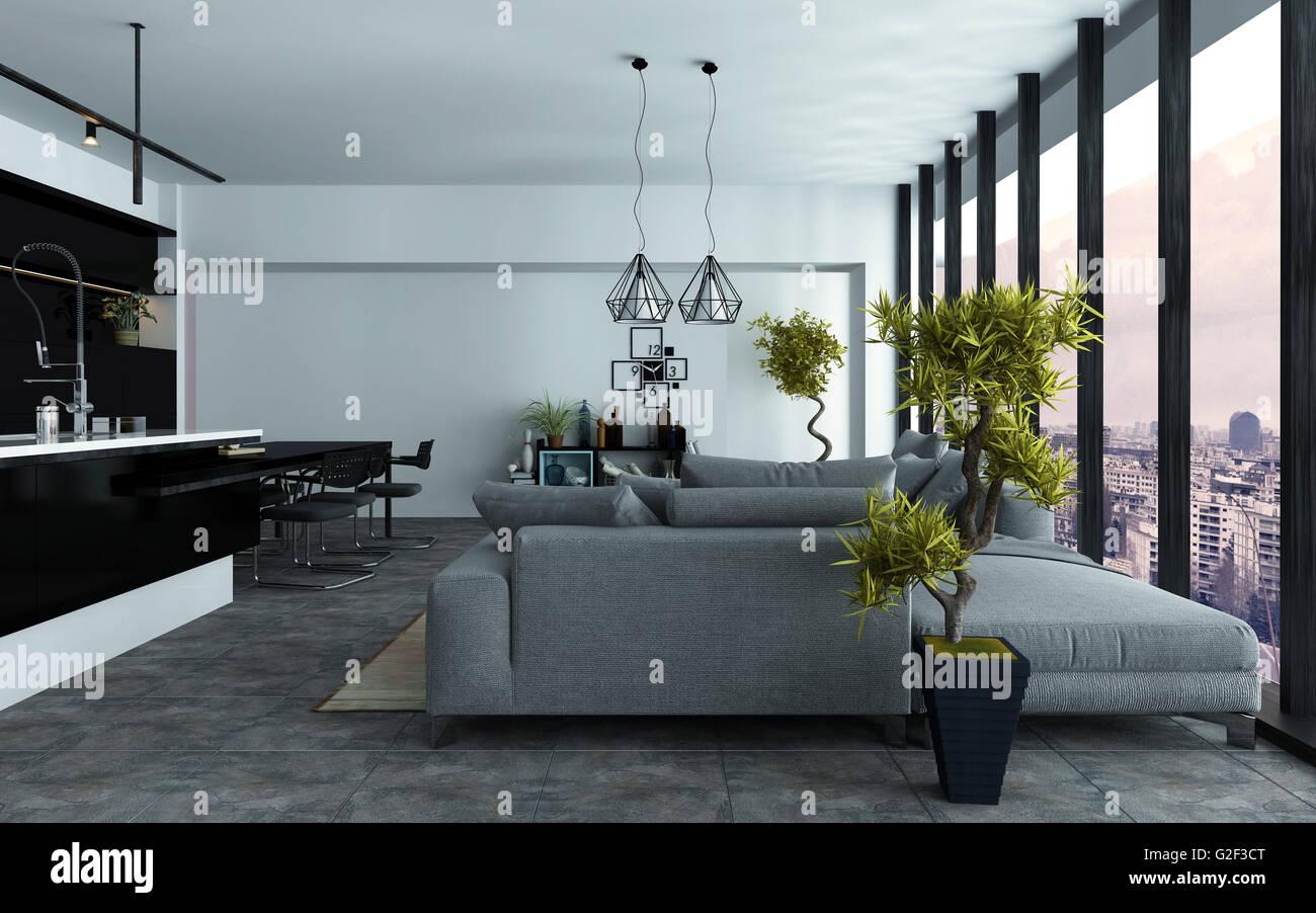 Cuisine Integree Dans Salon moderne spacieux salon décloisonné avec une cuisine intégrée