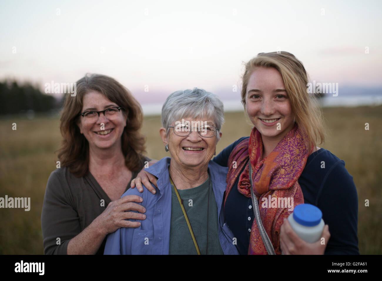 Trois générations de femmes, Portrait Photo Stock