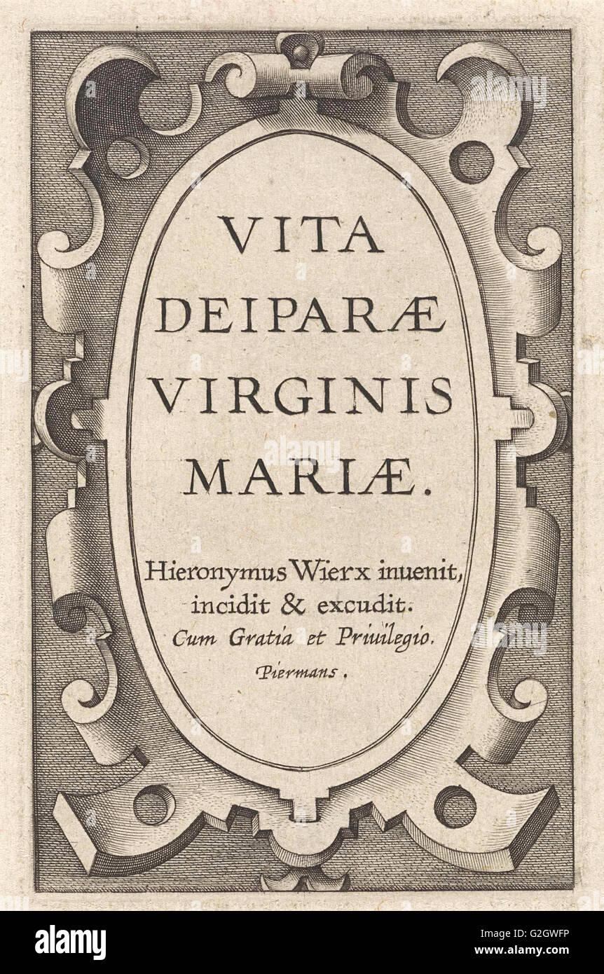 Cartouche avec un titre, Hieronymus Wierix, 1563 - avant 1619 Photo Stock