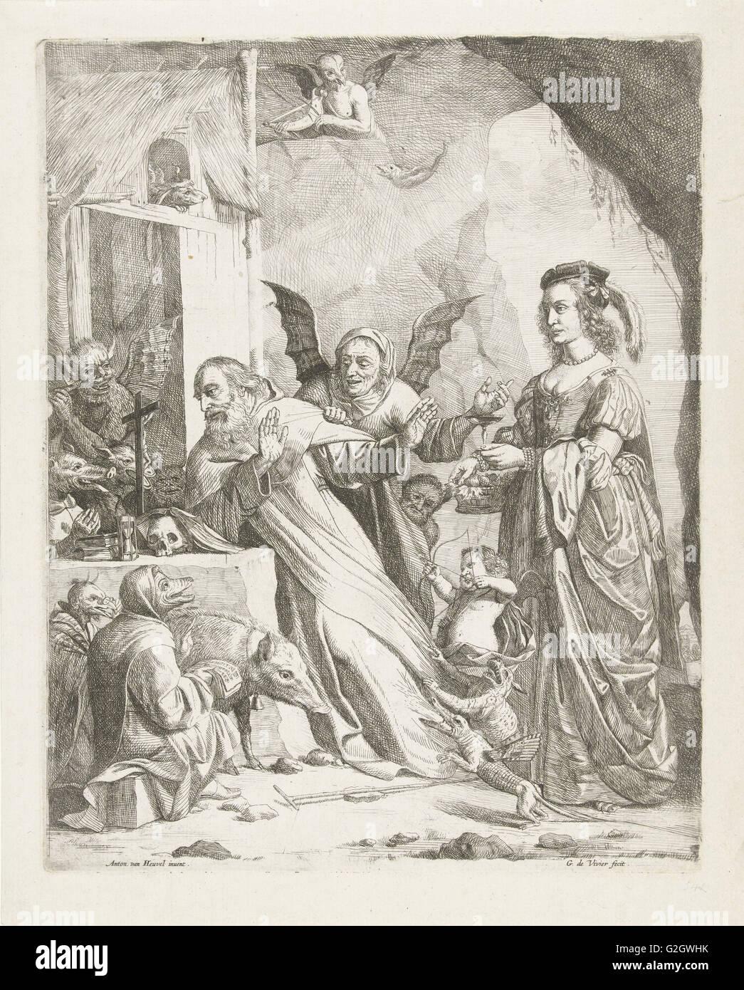 La Tentation de Saint Antoine, Guillaume Duvivier (17e eeuw), ch. 1660 - c. 1670 Photo Stock
