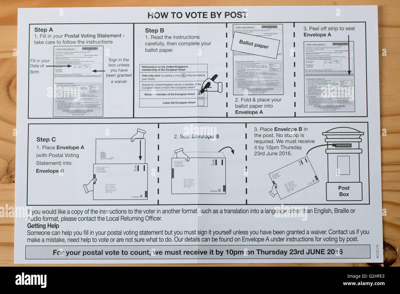 Bristol's comment voter par correspondance guide, pour le référendum de l'Union européenne Photo Stock