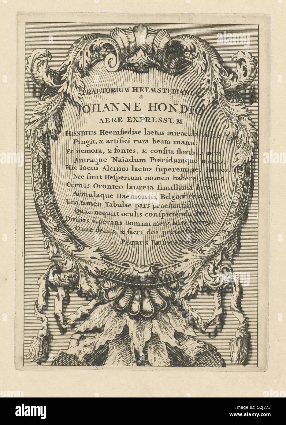 Cartouche avec texte latin, Johannes Hondius, Pieter Burman, 1700 - 1799 Photo Stock