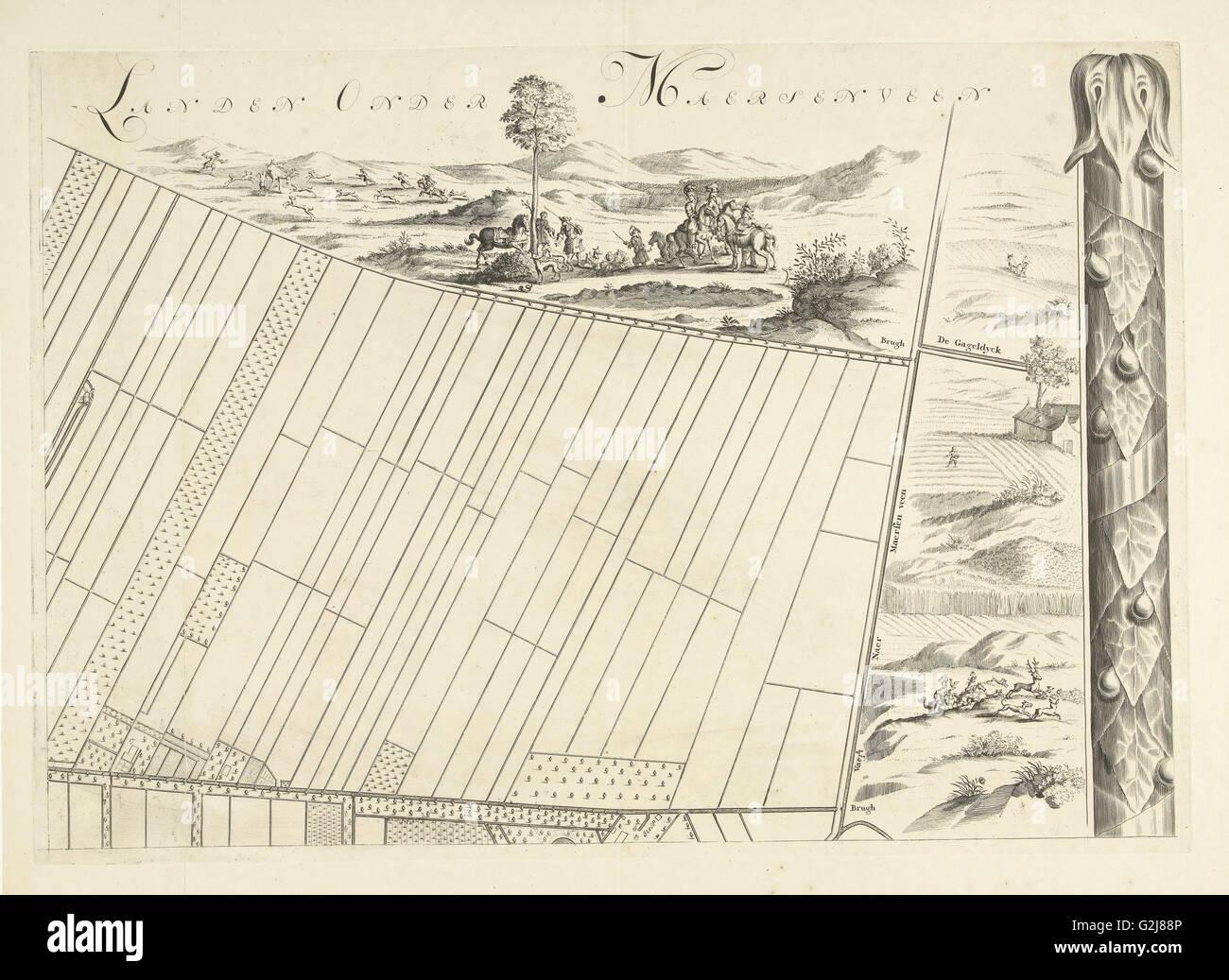 Carte de l'heerlijkheid Maarsseveen, Pays-Bas, Philibert Bouttats, 1665 - 1731 Photo Stock