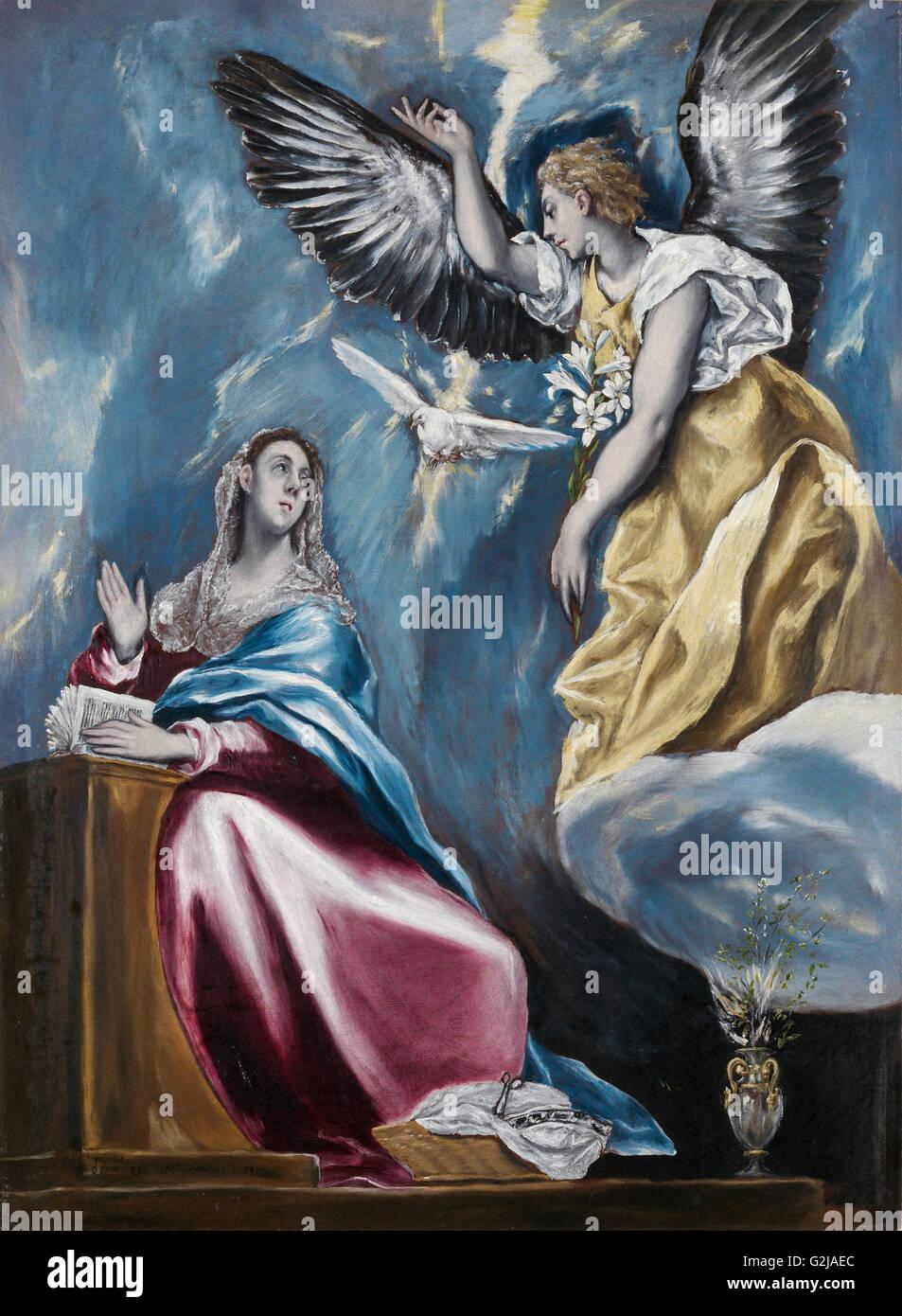 El Greco - l'Annonciation - Musée des beaux-arts, Budapest Photo Stock