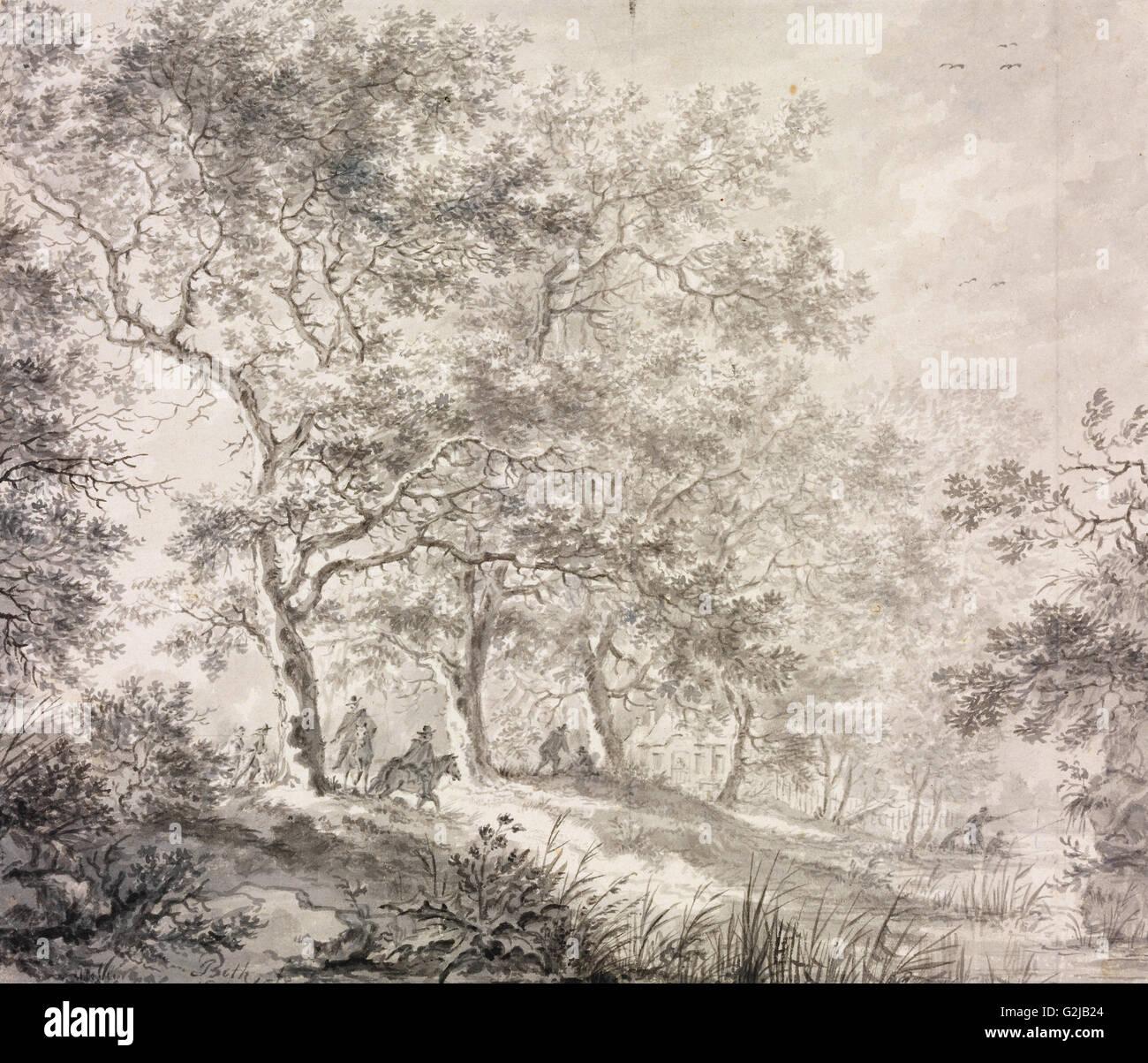 Jan - Les deux rangées d'arbres - Musée des beaux-arts, Budapest Photo Stock