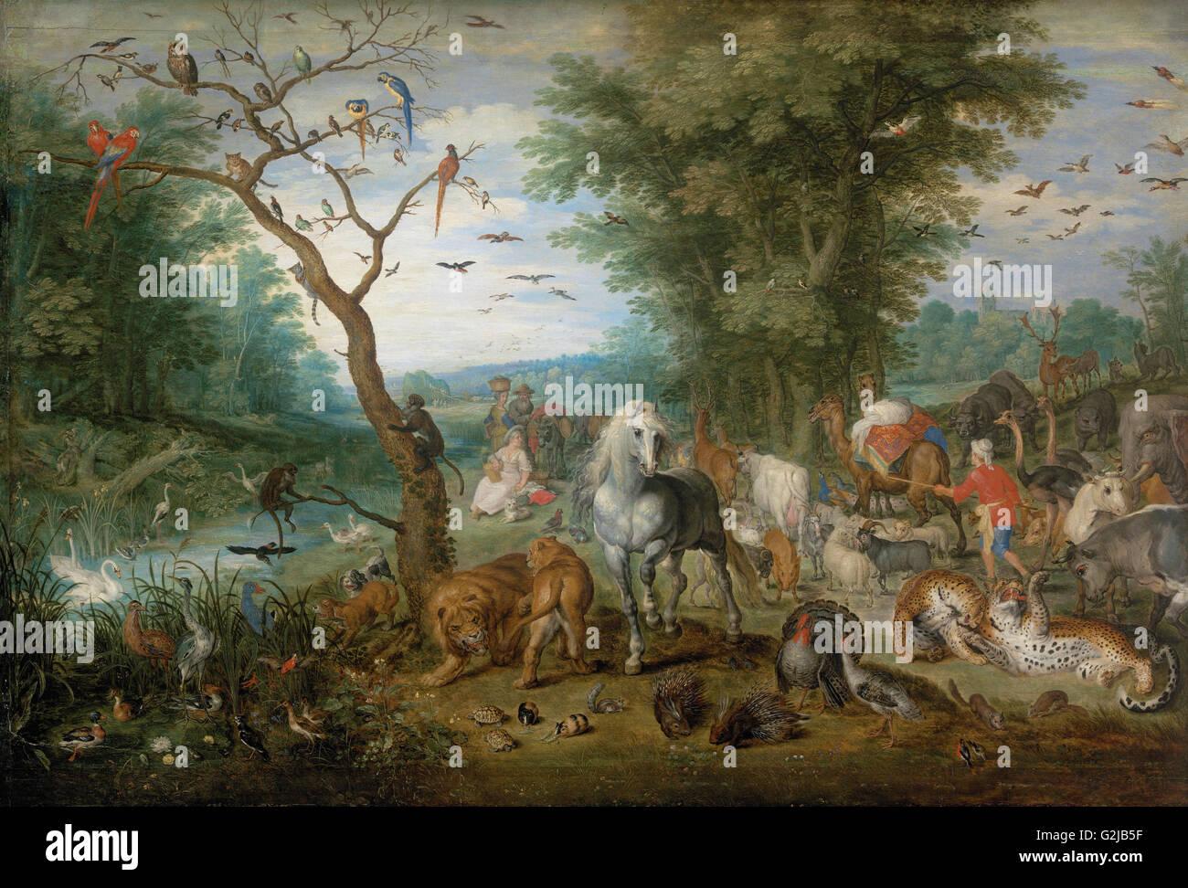 Jan Breughel ii - Paradise Paysage avec animaux - Musée des beaux-arts, Budapest Photo Stock