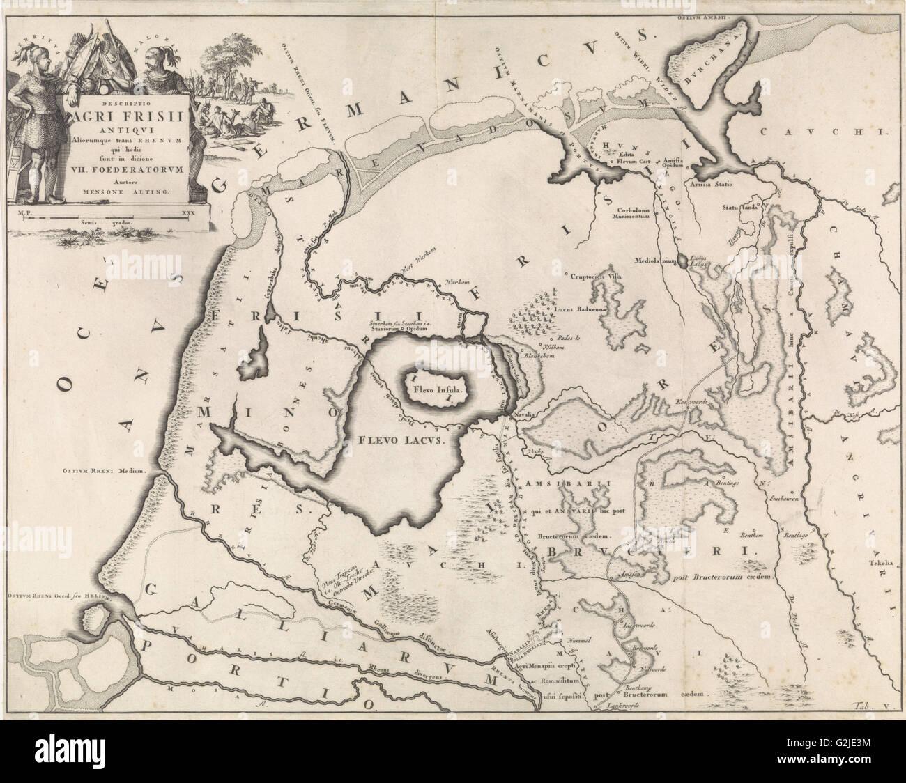 Carte historique des Pays-Bas avec les domaines de l'Bataves et frisons, V, Jan Luyken, Henricus Wetstein, 1697 Photo Stock