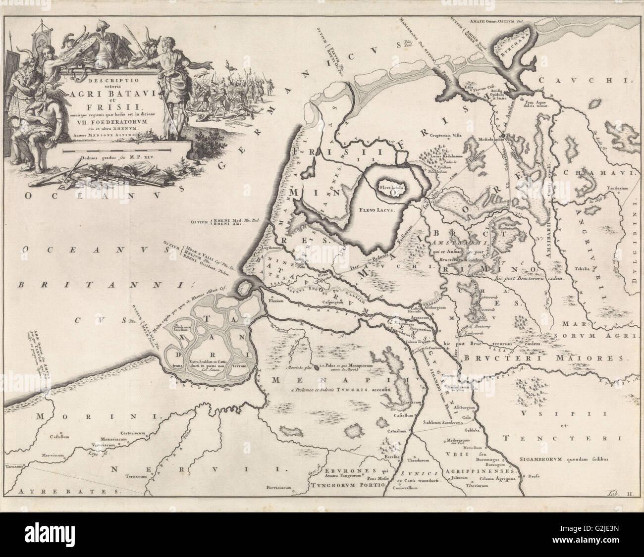 Carte historique des Pays-Bas à l'époque de l'Bataves et frisons II, Jan Luyken, Henricus Wetstein, Photo Stock