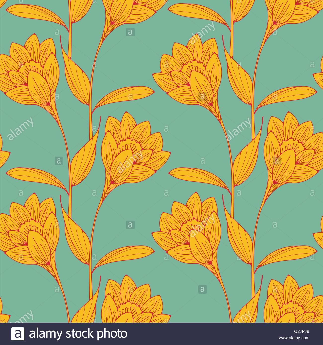 Un Style Anglais Vintage Papier Peint Fleuri Tuiles Sans Couture