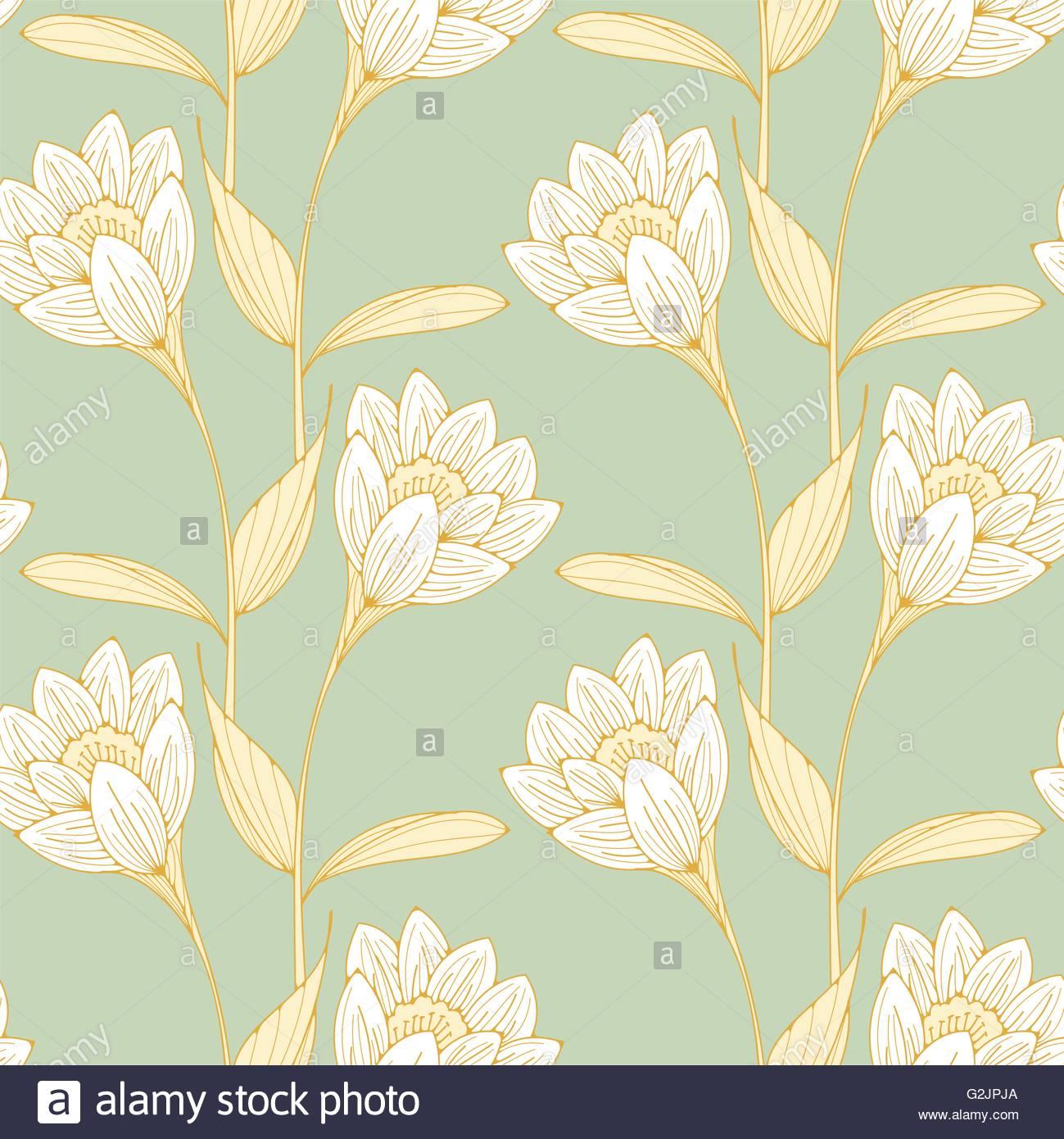 un style anglais vintage papier peint fleuri tuiles sans couture avec crocus comme des fleurs. Black Bedroom Furniture Sets. Home Design Ideas