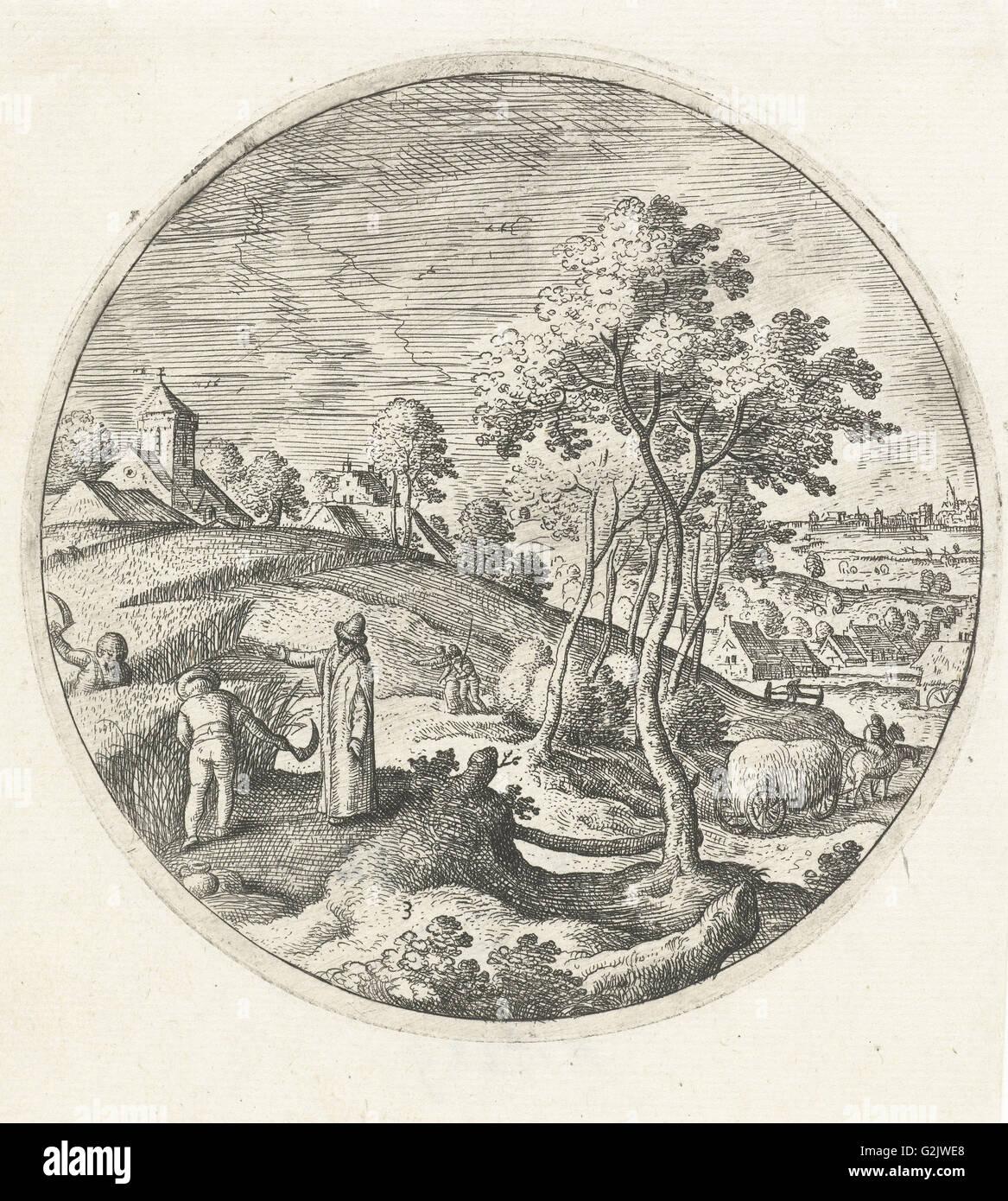 La récolte de maïs, Hans Bol, 1574 Photo Stock