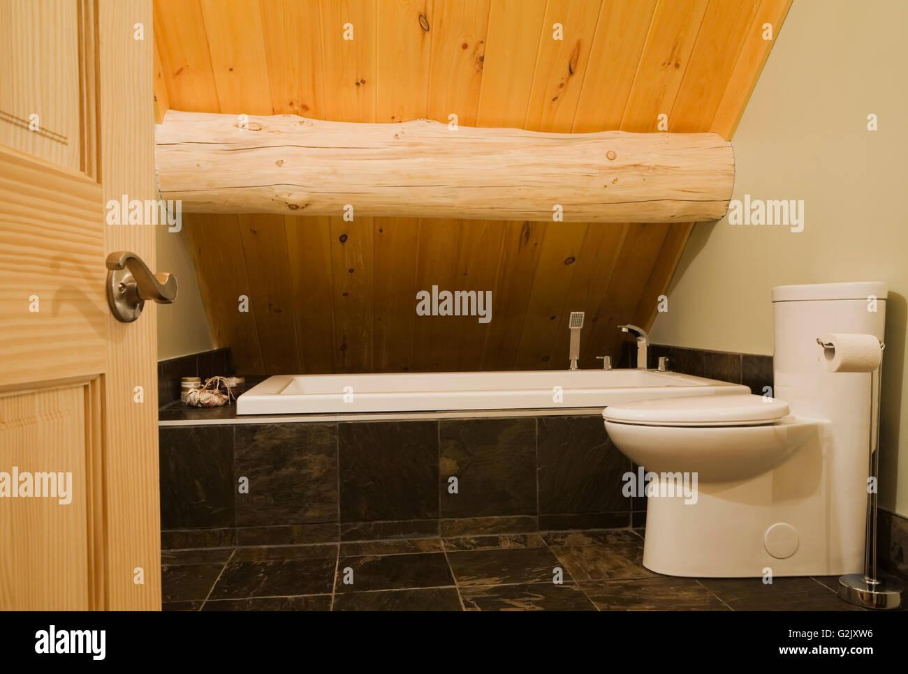 Porcelaine blanche toilettes baignoire dans salle de bains ...